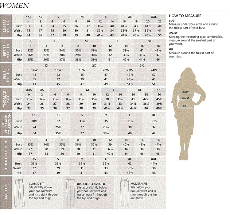 Women's Pendleton Clothing Size Chart