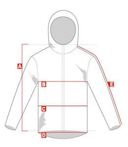 Bildresultat för size chart jacket
