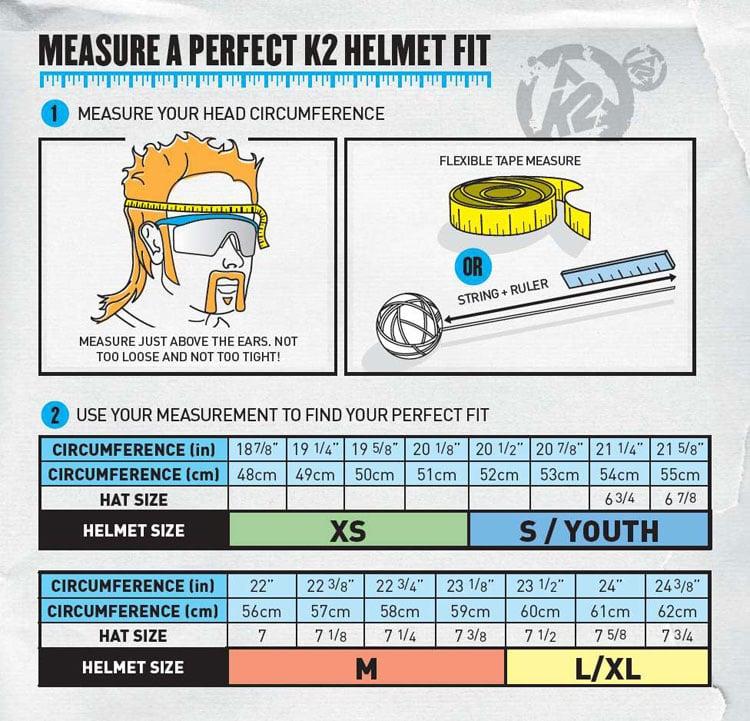 K2 helmet size chart 2013