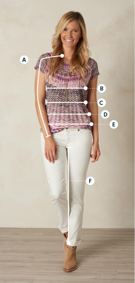 Women S Prana Clothing Size Chart