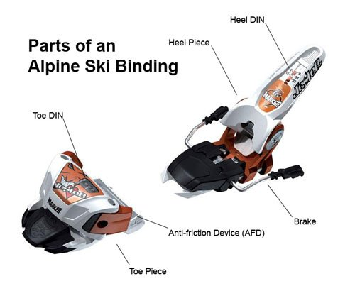Parts of an Alpine Ski Binding