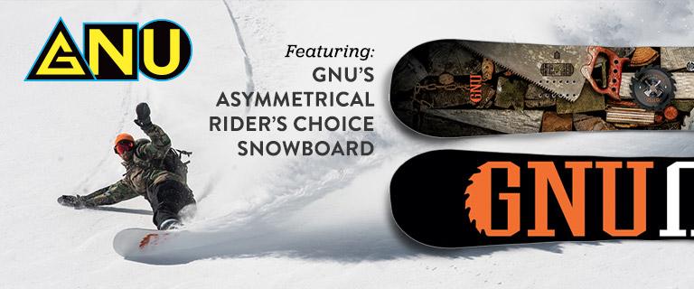 GNU: Featuring GNU's Asymmetrical Rider's Choice Snowboard.