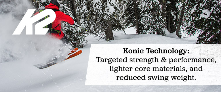 Konic Technology: Targeted strenght and performance, lighter core materials, and reduced swing weight.