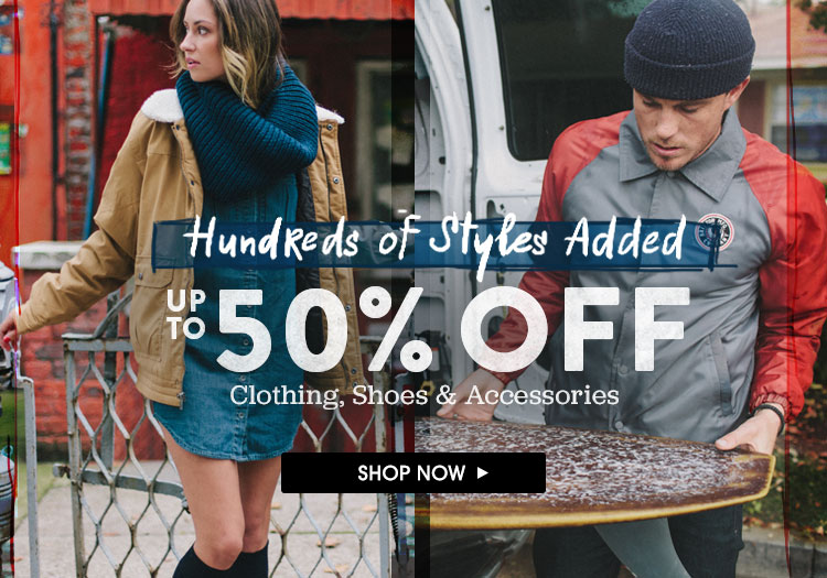 Up To 50% Off Clothing, Shoes and Accessories. Shop Now.