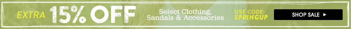 Sale on spring clothing, sandals and accessories.
