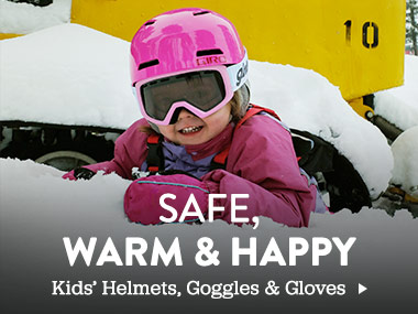 Safe. warm and happy. Kids' helmets, goggles, and gloves.