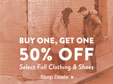 Buy One, Get One 50% Off Select Fall Clothing and Shoes. Shop Deals
