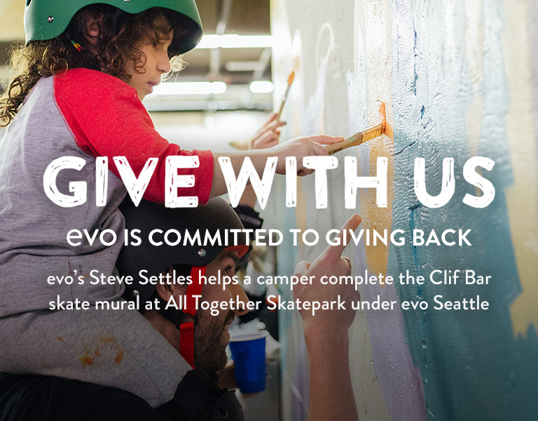 Give With Us. evo Is Commited To Giving Back. Learn More.