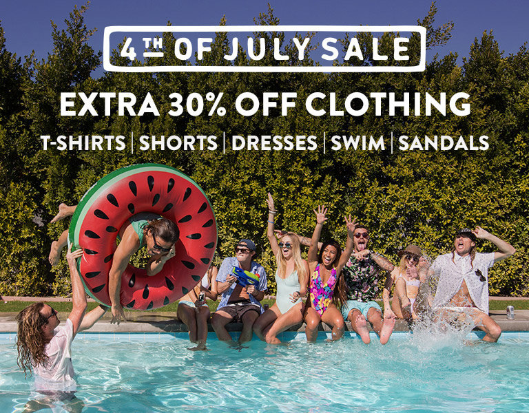 4th of July Sale. Extra 30% Off Clothing.