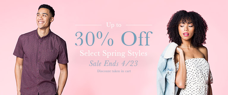Up to 30% Off Select Spring Styles. Sale Ends 4/23. Discount taken in Cart
