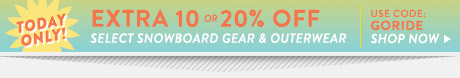Extra 10 or 20% Off Select Snowboard Gear and Outerwear. Shop Now.