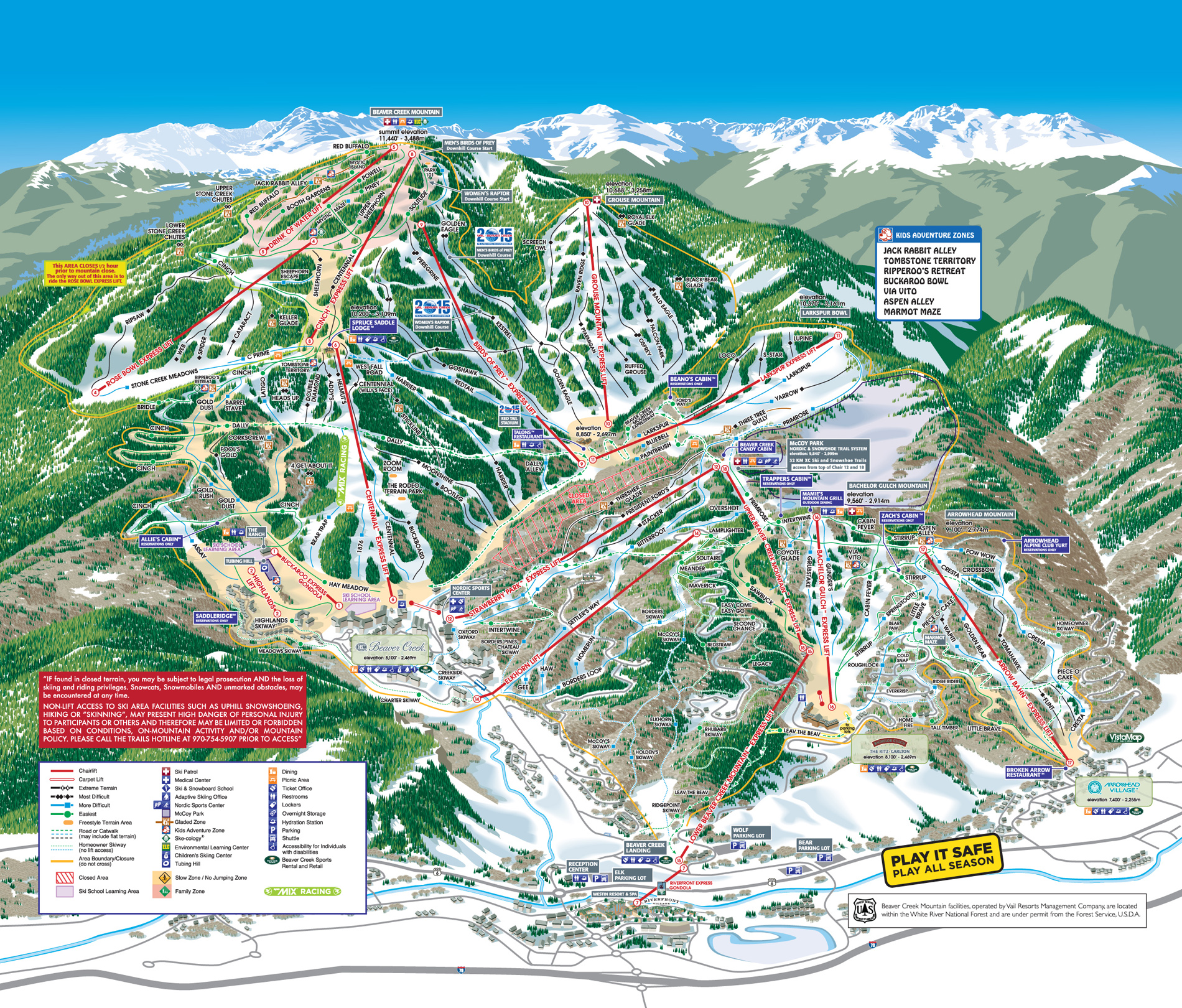 Beaver Creek Skiing  Snowboarding Resort Guide Evo - Map of colorado ski resorts and cities
