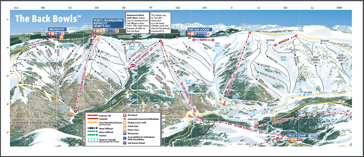 Vail Back Bowls Trail Map